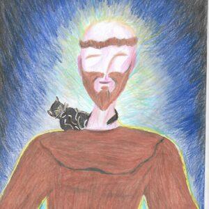 Pintura com Lápis de cor Emoldurado tamanho A4